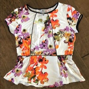 NWOT Flowered Peplum Top Sz S
